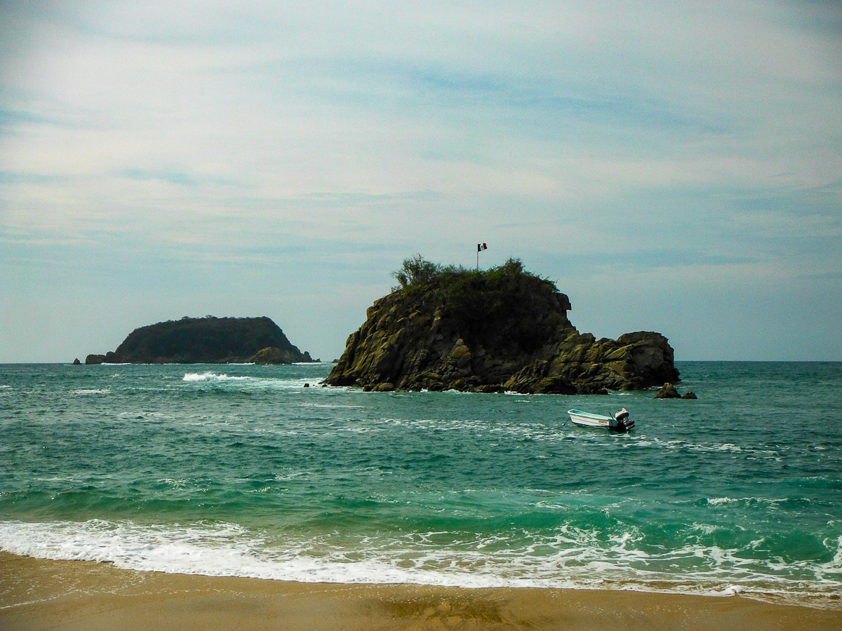Small islands off the coast at the Barcelo Huatulco resort in Mexico