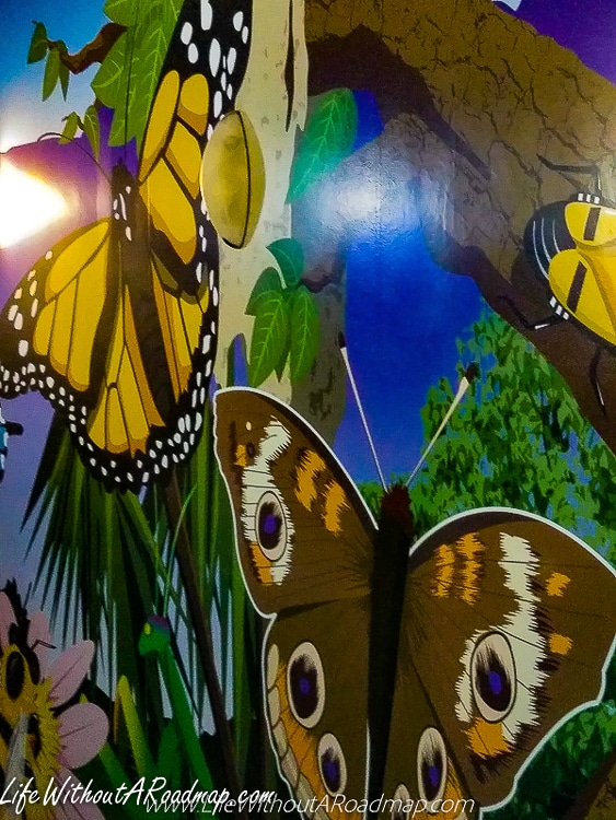 Butterfly mural with yellow and brown butterflies