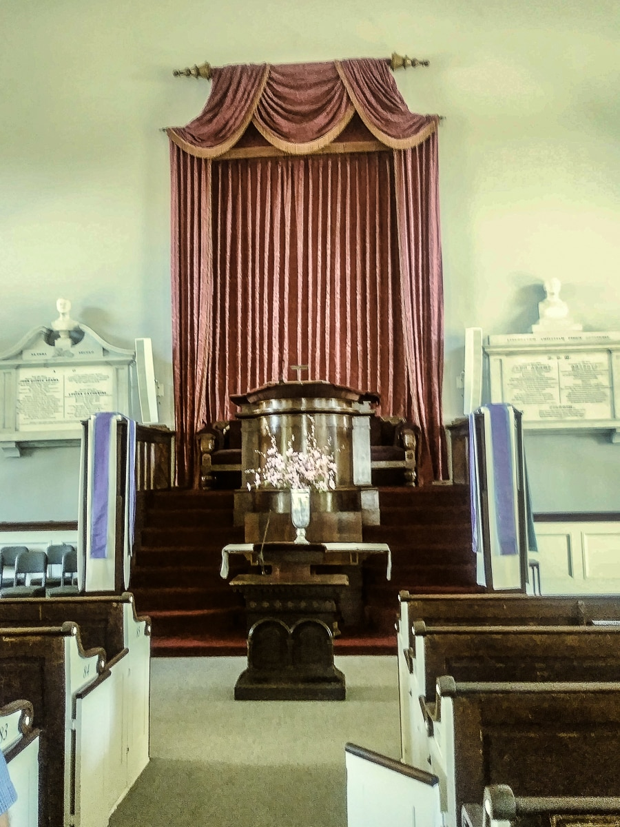 Altar at President Adams Family Church and Burial place
