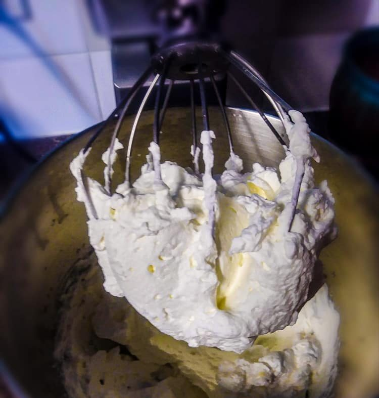 Whipping cream on beater