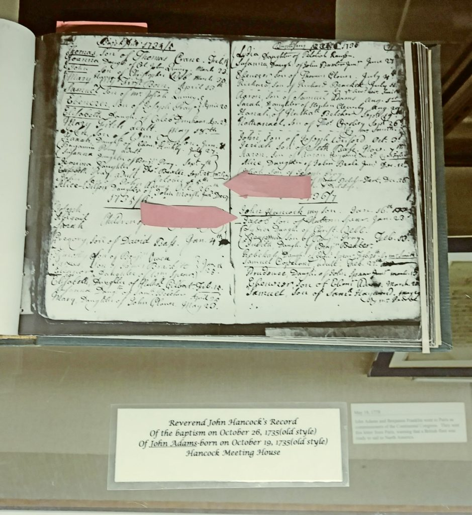 Baptismal record of John Adams