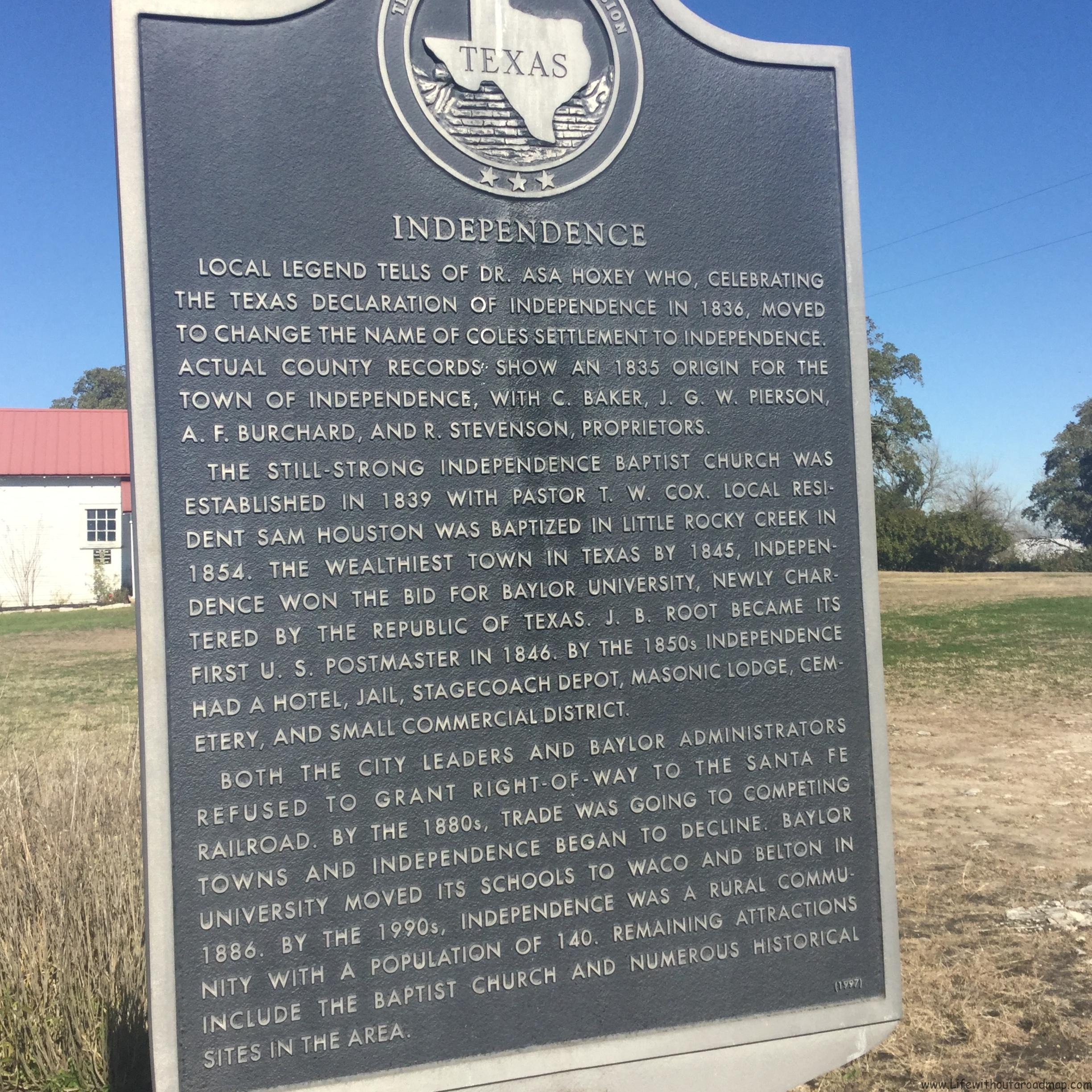 Texas Road Trip – Independence, The Birthplace of Baylor