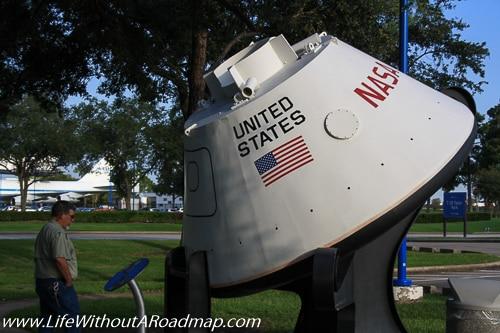 Landing capsule outside Space Center Houston