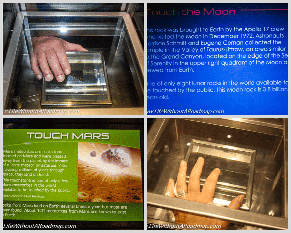 Space Center Houston touching a moon rock and piece of Mars asteroid