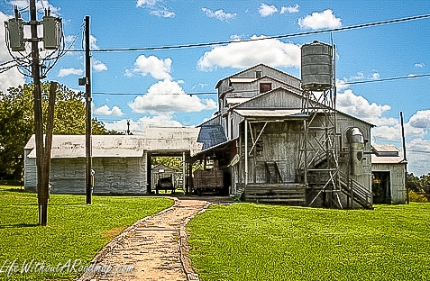 Outside view of Cotton Gin building with walking path