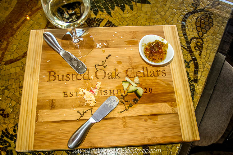 Busted Oak Cellars empty meat and cheese tray