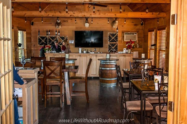 Main tasting room at Busted Oak Cellars