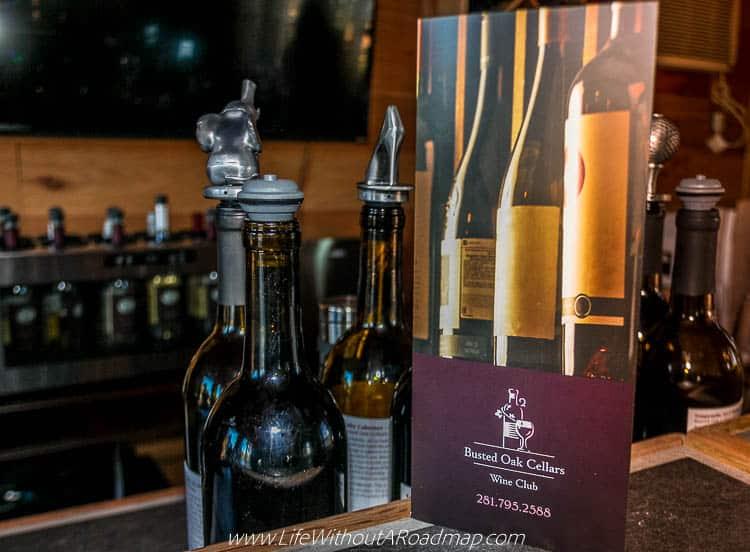 Busted Oak Cellars wine club brochure