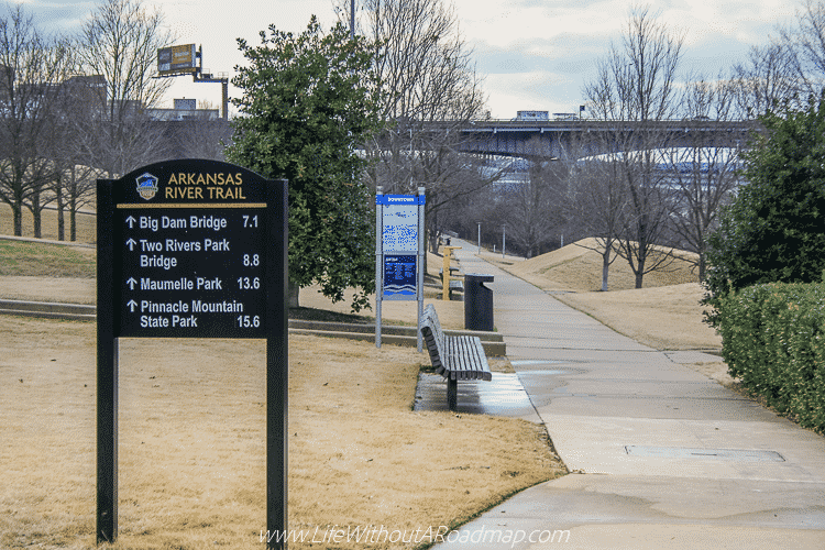 Arkansas River Trail Sign in Little Rock