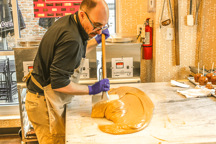 Fudge making at Kilwins Candy Store in Little Rock, Arkansas