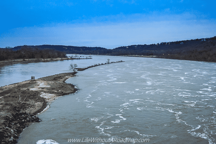 View of the Arkansas River from the Big Dam Bridge in Little Rock, Arkansas