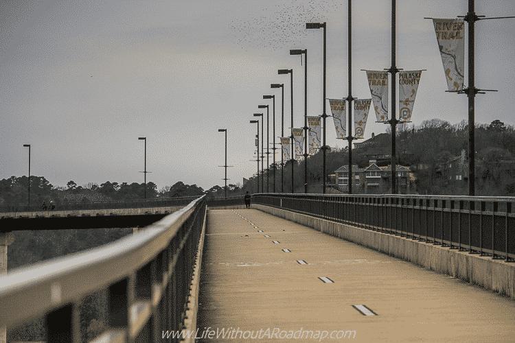 Walking up the Big Dam Bridge in Little Rock, Arkansas
