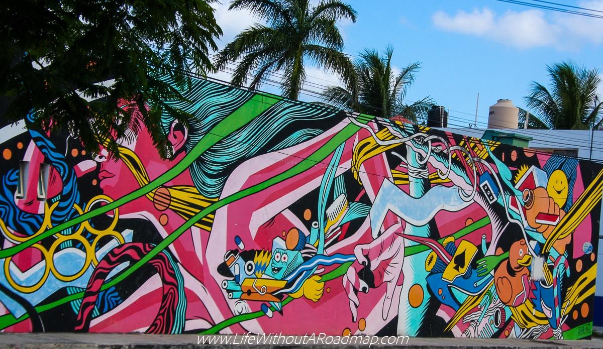 Plastic Fantastic mural in Cozumel, Mexico