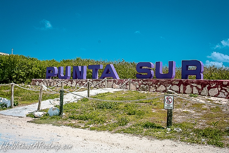 Sign to entrance at Punta Sur Eco Park in Cozumel, Mexico