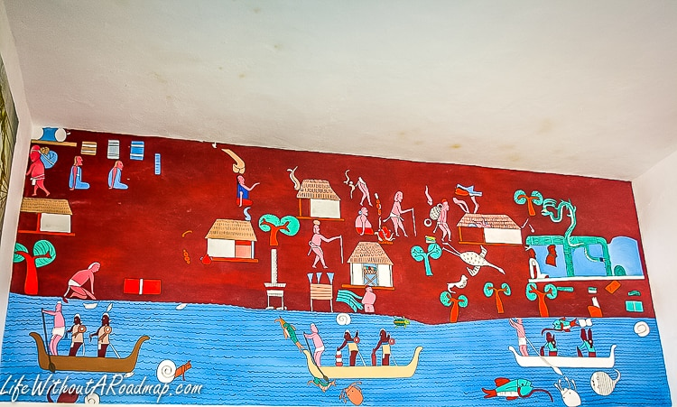 Mural depicting importance of marine culture in Punta Sur museum, Cozumel Mexico